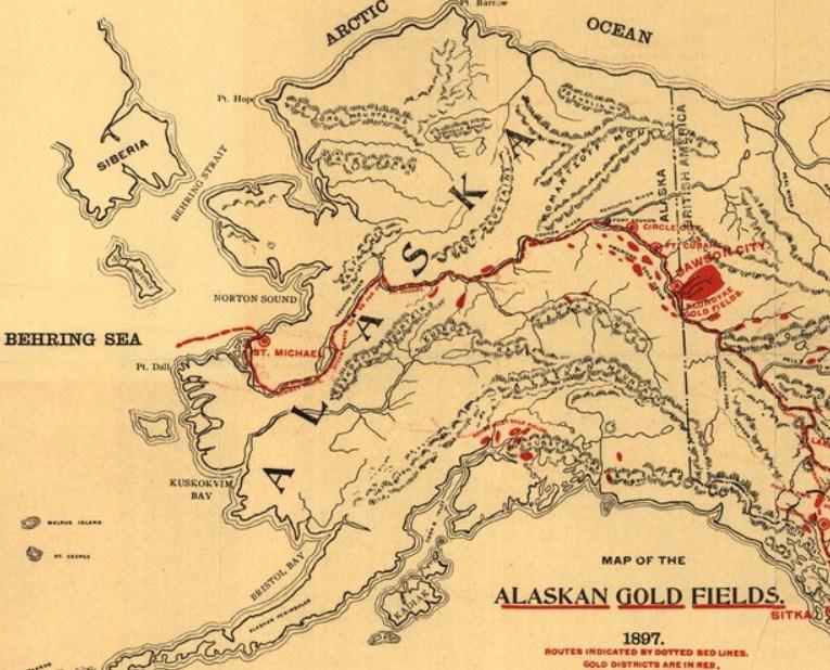 Campo de la fiebre del oro en Alaska