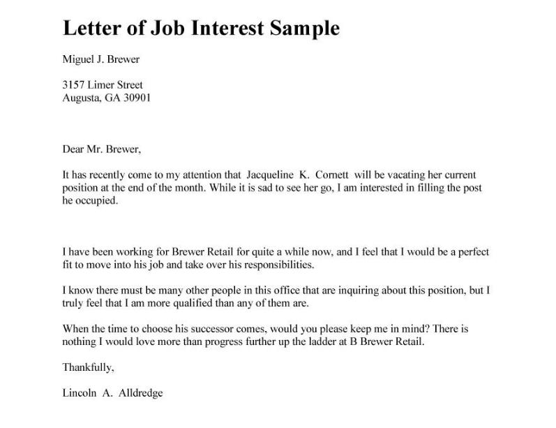Carta de interés laboral